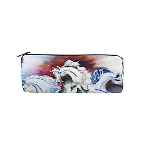 Federmäppchen Stationäre Steed Tier Pferd Bleistift Taschen Runde Tragbare Tasche für Schule Kinder Kinder Kosmetiktasche Make-Up Beauty Case (Pferd Stationär)