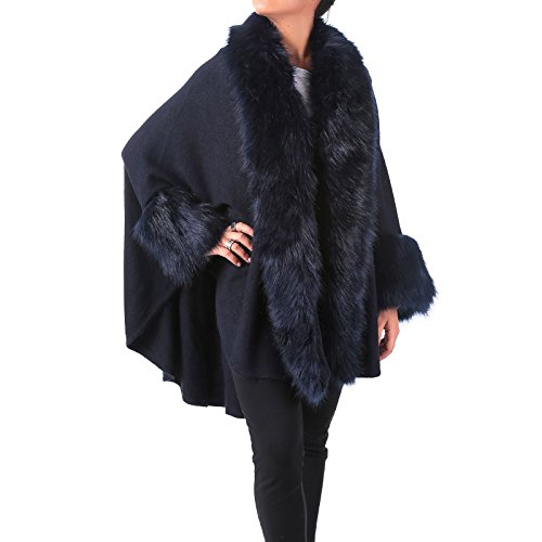 Mforshop mantella donna cappotto poncio poncho pelliccia eco giacca amd-sp501 (taglia unica, blu)