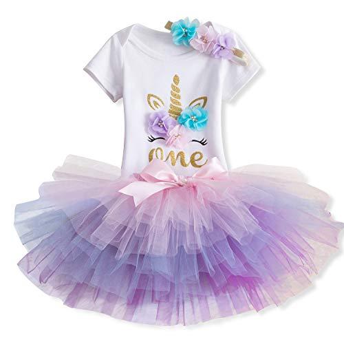 Kostüm Bedeutet Mädchen - TTYAOVO Baby Girl 1st Birthday 3er Sets mit Einhorn Stirnband & Strampler & Röcke (Pfirsich, 1 Jahr)