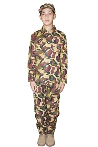 WickedFun - Disfraz de soldado de camuflaje militar para niños de 4 a 13 años