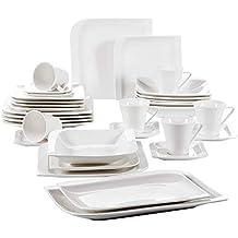vancasso Juegos de Vajilla 32 Piezas Blanco Marfil Blanco Crema Porcelana China Vajilla de Cerámica Combi