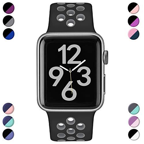 Hamile Kompatibel für Apple Watch Armband 42mm 44mm,Dual Farbe Weiches Silikon Atmungsaktiv Sportarmband für iWatch Series 5 Series 4 Series 3 Series 2 Series 1, M/L Schwarz/Grau