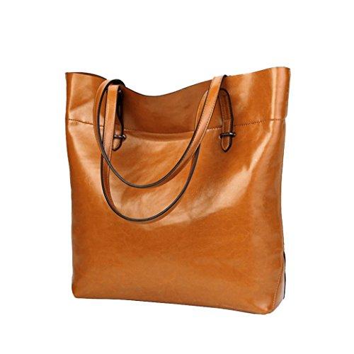 tianranrt Damen Girls Damen Retro Casual Fashion Leder Handtasche Schultertasche Messenger Bag Umhängetasche Shopper Langlebig Staubbeutel für Travel Tägliche Arbeit braun 31cm(L)*12cm(W)*34cm(H) (Staubbeutel Geldbeutel)