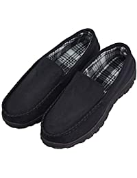 9942e700ee893 VLLY Men's Warm Pile Lined Microsuede Indoor Outdoor Bedroom Moccasin  Slippers US 10 Black (FBA