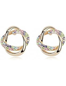 Damen Ohrringe Mädchen SWAROVSKI Kristallen Goldet Bunte Farben