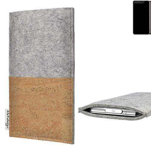flat.design Handy Hülle Evora für Allview X4 Xtreme handgefertigte Handytasche Kork Filz Tasche Case fair grau