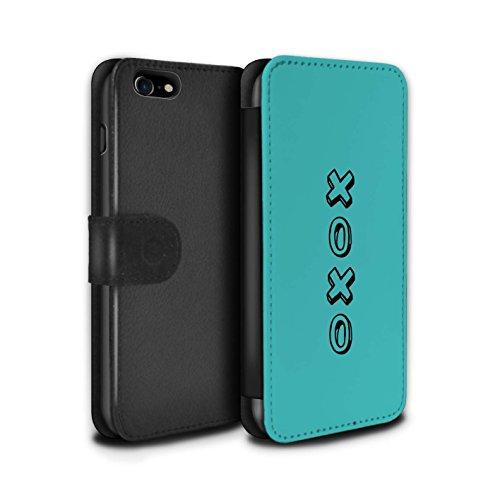 STUFF4 PU Pelle Custodia/Cover/Caso/Portafoglio per Apple iPhone 7 / Blu/Abbracci e Baci / Cuore XOXO disegno