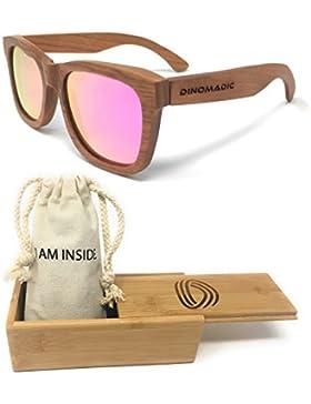 DINOMADic Unisexo Wayfarer Madera de Cereza Gafas de Sol Polarizadas con Estuche de Bambú