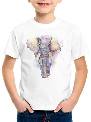 style3 Acuarela Elefante Camiseta para Niños T-Shirt Elephant zoológico Vacaciones, Talla:116