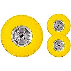 """Bond Hardware – Lot de 2 roues pneumatiques 10"""" pour diable/trolley/brouette, jaune"""