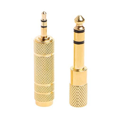 JOYKK 2 Stück 6,5 mm 1/4-Buchse auf 3,5 mm 1/8-Stecker Stereo-Audio-Mikrofonstecker Adapterbuchse - Gold