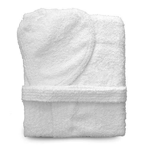 Gbc italian style accappatoio in spugna unisex uomo/donna con cappuccio 100% cotone varianti di colore bianco/rosa/azzurro/verdeacqua/beige asciuga bene (l, bianco)