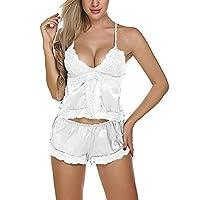 ملابس نوم Ronshin قطعتين/مجموعة بيجامات نسائية من الدانتيل والساتان صيفية ملابس نوم مثيرة وبيجامة بيضاء مقاس L