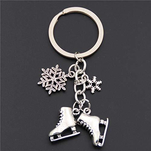 HXYKLM 1 stück Antike Silber Schlittschuhe Schneeflocke Anhänger Schlüsselanhänger Skating Schlüsselanhänger Schlüsselbund Schmuck Für Winter Geschenk