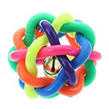 Juguete de masticar divertido - SODIAL(R)Juguete de masticar divertido de jugar Bola de sonido Campana de goma de colores del arco iris del Perro Perrito Gato Animales domesticos
