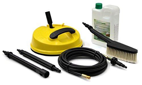 Lavor Kit Outdoor (6.008.0199) Set accessoires pour nettoyeur haute pression à eau froide : nettoyeur de surfaces, sonde débouchage de canalisations, brosse fixe, détergent anti-moisissures,...