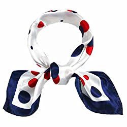 Elegant Stain Square Scarf Bandana Neckerchief Polka Dot Pattern for Women