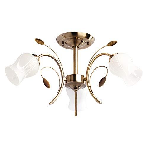 Demarkt 256018103 plafoniera moderna da soffitto colore bronzo anticato motivi floreali