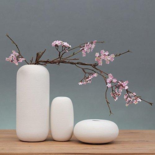 KTYXGKL Japanischen Zen reinweiß Keramik Vase Blume nach Hause TV Schrank Couchtisch Dekorationen Handwerk Schmuck Bastelt Ornamente -