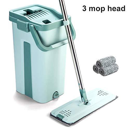 Klinkamz Mop Eimer System zur Bodenreinigung 2in1 Waschen Trocken mit Flachfaser-Mop-Pads 3 Mop Heads