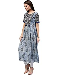 Jaipur Kurti Women's Cotton A-line Gathered Long Kurta With Embroidered Yoke & Tassels (Indigo Blue)