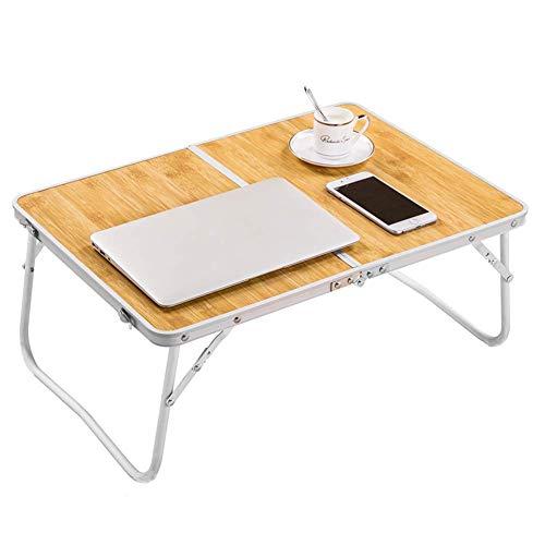ArmaGedon Laptop-Ständer aus Bambusmaserung für Bett, tragbarer Klapptisch für drinnen und draußen, Picknick, Party, Camping & Esszimmer (Bambusholzmaserung)