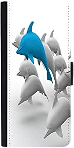 Snoogg 3D Dolphins Graphic Snap On Hard Back Leather + Pc Flip Cover Samsung ...