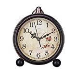 LIOOBO Reloj de Alarma de Estilo Vintage Reloj de Mesa Retro Antiguo y silencioso Decorativo Reloj silencioso sin tictac Reloj Retro clásico de Escritorio Reloj sin Alarma