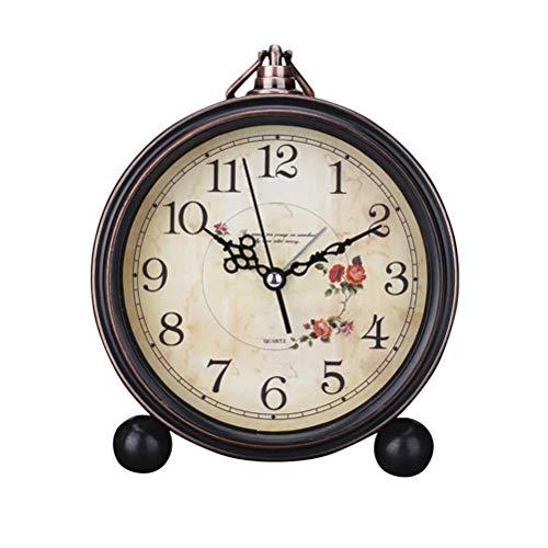 LIOOBO Reloj de Alarma de Estilo Vintage Reloj de Mesa Retro Antiguo y silencioso Decorativo Reloj silencioso...