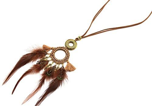 cl970F-Collar étnico trenzado y círculo con plumas y pompones, color beige/marrón círculo moda