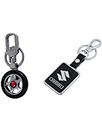 Gratitude Combo Of Maruti Suzuki Car Logo Rotating Tyre Shape & Leather Black Premium Locking Keyring Key Chains