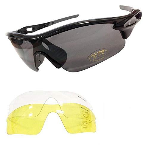 VeloChampion Warp schwarze Rahmen Sonnenbrille (mit 3 Linsen) Radfahren, Sport