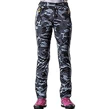 BaiTe Mujeres Pantalones camuflaje tamaño extra grande de Softshell Pantalones pantalones largos Senderismo deporte al aire libre a prueba de viento impermeable y transpirable