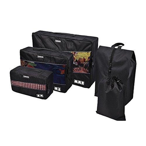 Tyhbelle Kleidertasche Packing Cubes Packwürfel im 5-teiligen Sparset Ultra-leichte Gepäckverstauer Ideal für Reise, Seesäcke, Handgepäck und Rucksäcke (5-teiliges Set, Schwarz)