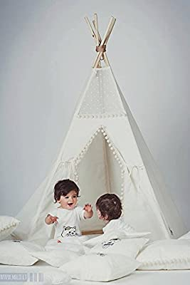 HAN-MM Kids Foldable Teepee Play Tent White One Style