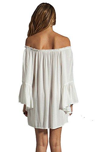 Damen Sexy Kleid Schulterfrei Sommerkleid Chiffon Langarm Abend Party Club Shirt Tunika Tunikakleid Bluse Oberteil Damenbluse Kleider Minikleid Top Weiß