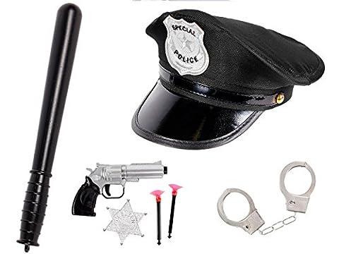 Déguisement policier pour enfant (KV-72): Kit de 7 accessoires: Casquette + Matraque + Paire de menottes avec 2 clés + Un pistolet révolver avec deux fléchettes à ventouse et une étoile