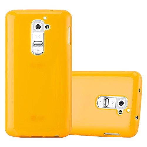 Preisvergleich Produktbild Cadorabo Hülle für LG G2 - Hülle in Jelly GELB – Handyhülle aus TPU Silikon im Jelly Design - Silikonhülle Schutzhülle Ultra Slim Soft Back Cover Case Bumper