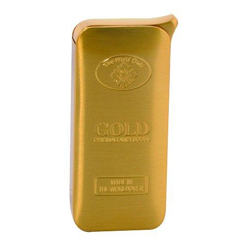 Briquet lingot d'or métal semi-luxe - rechargeable - métal doré brossé - dim 5,7 x 2,5 x 1 cm
