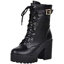fa7f98c6d Zapatos con Cordones Mujer Botas Plisadas Botas Efecto Arrugado para Mujer  Botines De Cuero Hebilla de