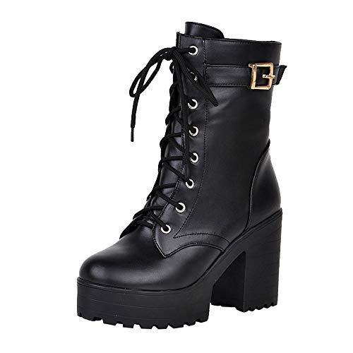 Zapatos con Cordones Mujer Botas Plisadas Botas Efecto Arrugado...