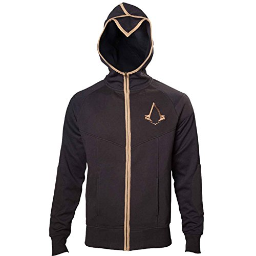 Assassins Creed Syndicate Bronze Logo Herren Nue Schwarz Zipped Kapuzenpullover