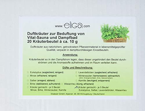eliga Duftkräuter gemischte Düfte Eukalyptus, Salbei, Lavendelblüten, Wiesenheu, 1er Pack (1 x 20 Stück) -