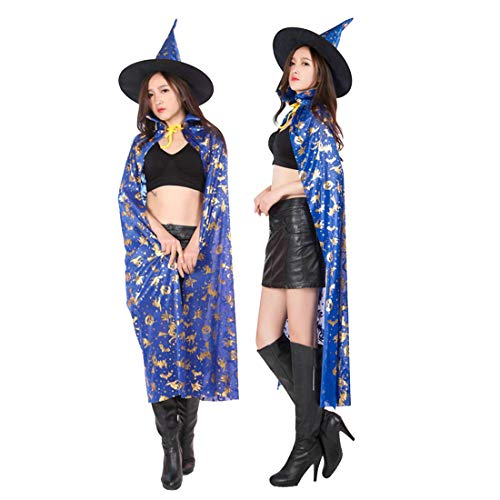 FLYA Halloween Death Cape Umhang Adult Velvet Hooded Cloak Vampire Masquerade Mit Kapuze Robe,Blue-1.2m