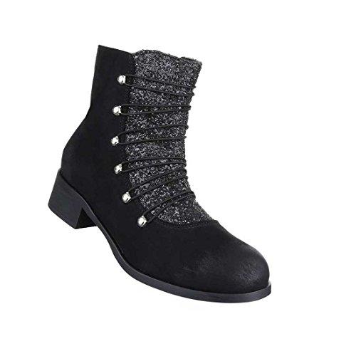 Damen Stiefeletten Schuhe Leicht Gefütterte Boots Camel Schwarz Grau 36 37 38 39 40 41 Schwarz
