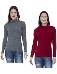IndiWeaves Women's Woollen Warm Full Sleeves High Neck/Inner/Skivvy (Multicolour, Free Size) - Pack of 2