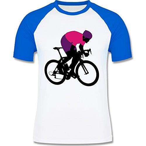 Radsport - Profi Rennradfahrer Rennrad - zweifarbiges Baseballshirt für Männer Weiß/Royalblau