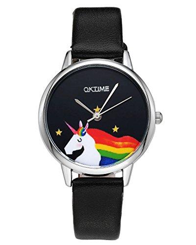 rbe Damen Armbanduhr Cartoon Einhorn Design Kleid Uhren Wasserdicht PU Lederband Silber Quarz Uhr,Schwarz (Stellen Simples Halloween)