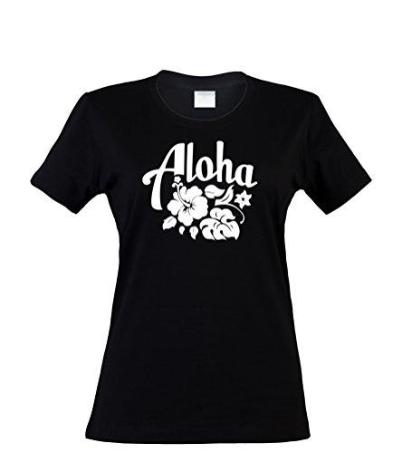 klamottenkiste24 Damen T-Shirt Aloha Hawaii, schwarz, Gr. S (Hawaii-aloha-shirt Schwarzes)