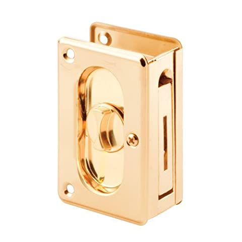 Prime-Line Products N 7365 Pocket Door Privacy Lock with Pull, 3-3/4-Inch, Polished Brass by Prime-Line Products